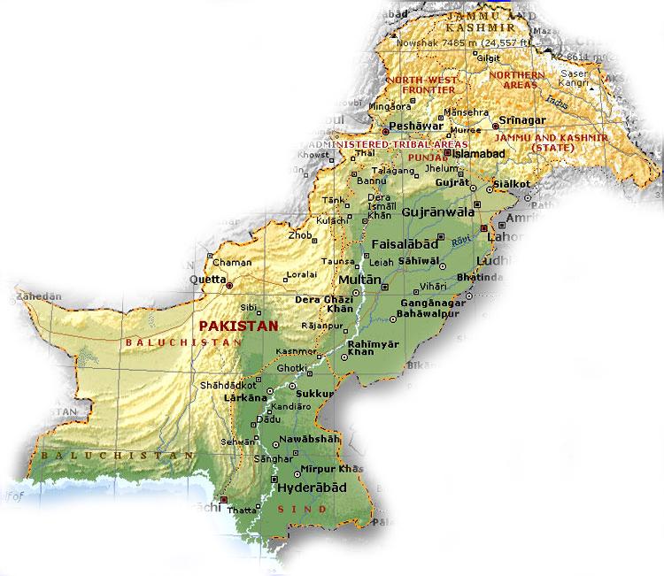 International Nathiagali Summer College - Major cities of pakistan map